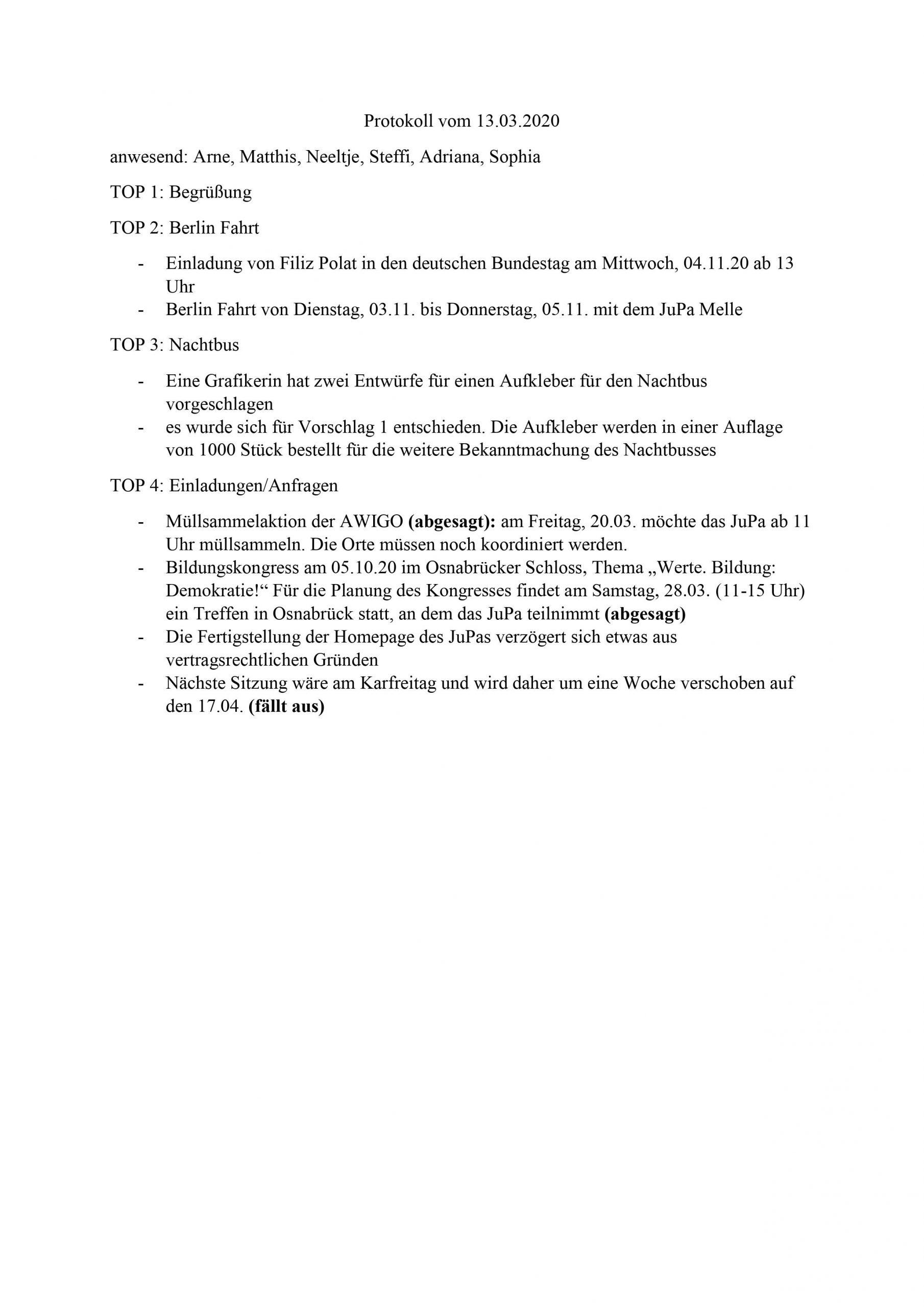 Protokoll Februar 2020 JuPa Bramsche