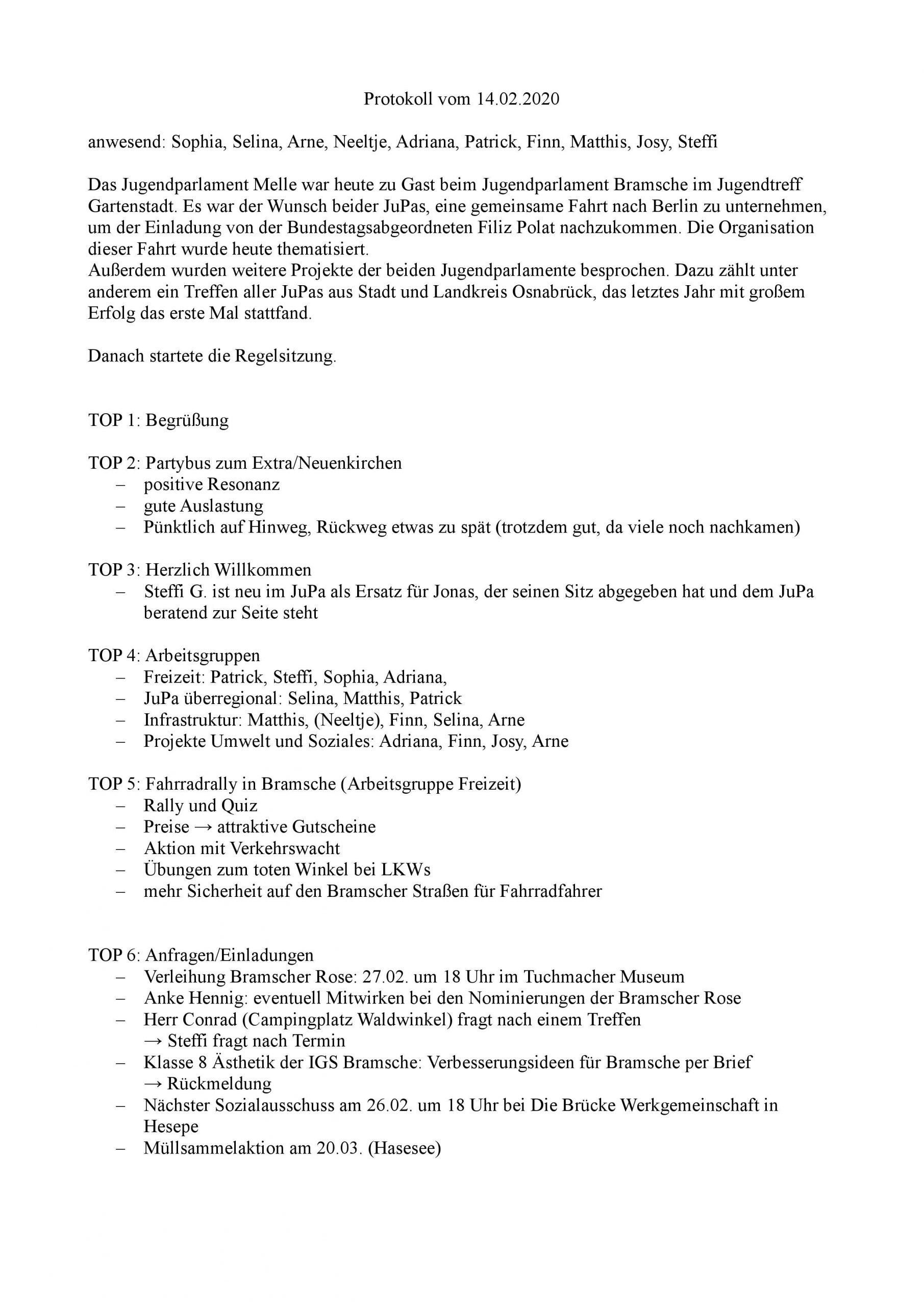 Jupa Protokoll Febr. 2020 Bramsche