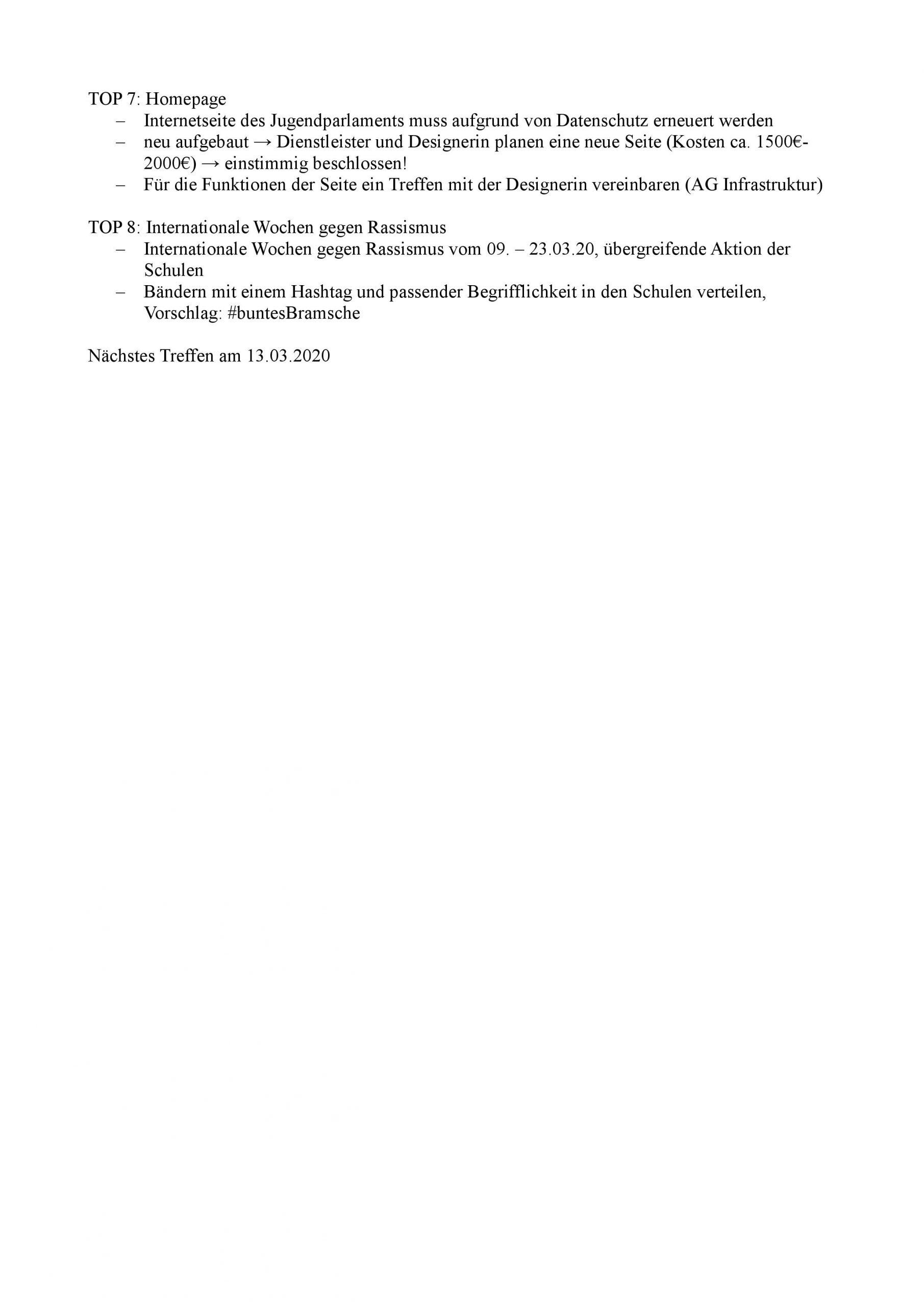 Protokoll II Jupa Bramsche Februar 2020