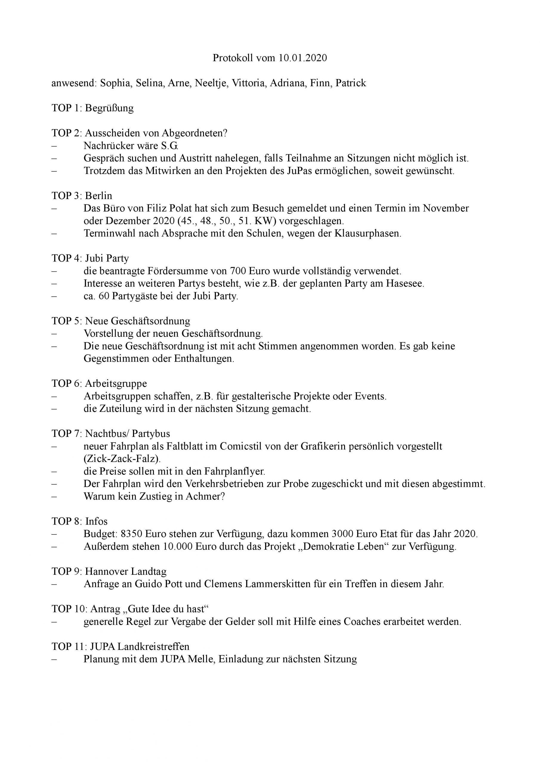 Protokoll Jupa Bramsche