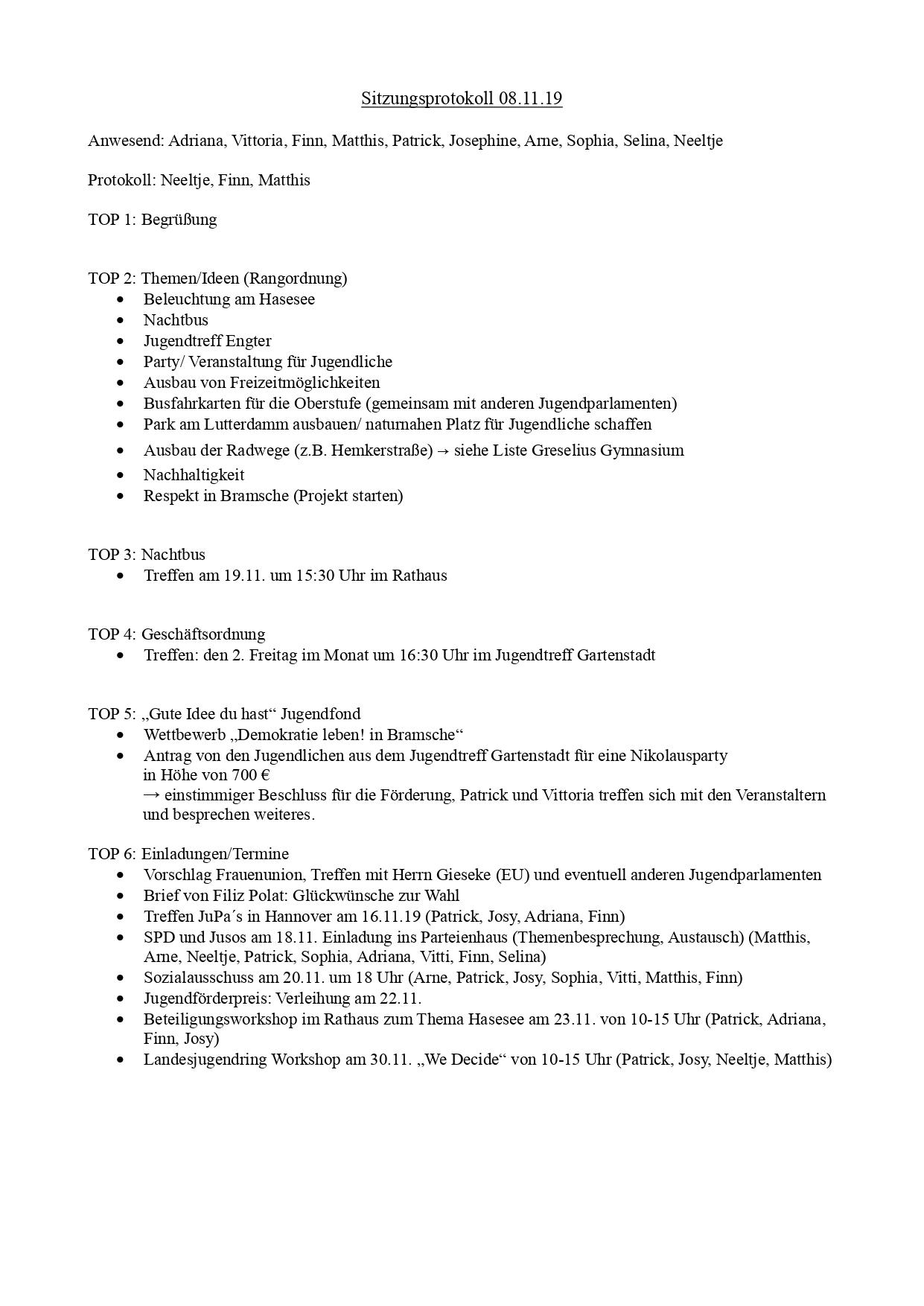 Jugendparlament Bramsche Protokoll